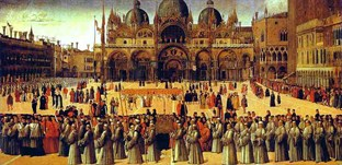 1496 Gentile Bellini Procession In St Marks Square Tempera On Canvas 367X745cm Galleria Dellaccademia Venice