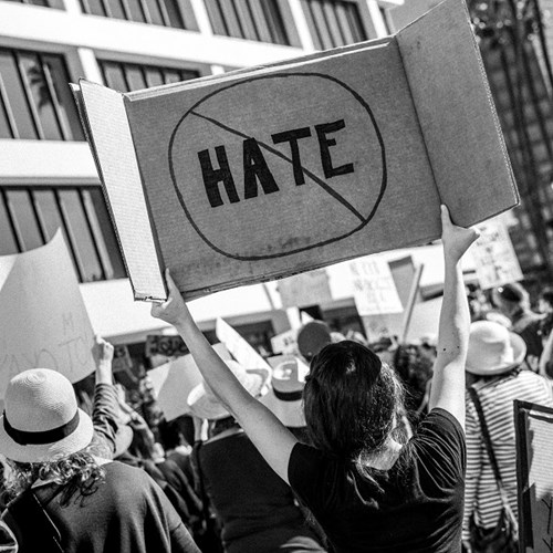 "Image: A woman declares ""No Hate"" at a protest in Los Angeles, California 2017. Photo by T. Chick McClure on Unsplash."